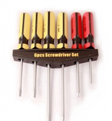 6pc Screwdriver Set Flat/Slotted with Tri-square Handle