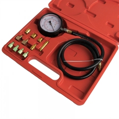 12pc TU-11A Engine Oil Pressure and Transmission Fluid Diagnostic Tester Tool Kit - Gauge, Hose, and Adapters