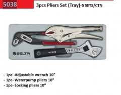 Selta Taiwan 3pc Professional Wrench & Pliers in Tray: Adjustable Wrench, Water Pump & Locking Pliers